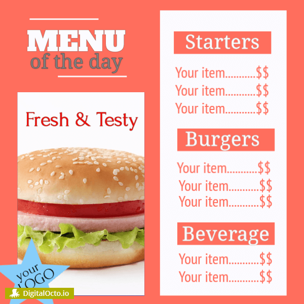 Restaurant – menu of the day