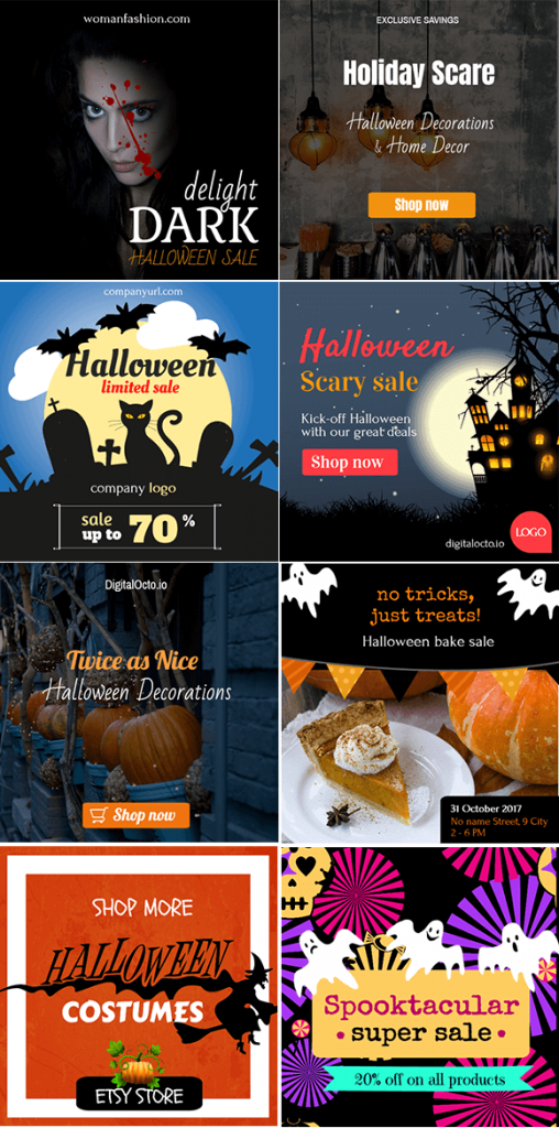 Halloween banners for social media advertising