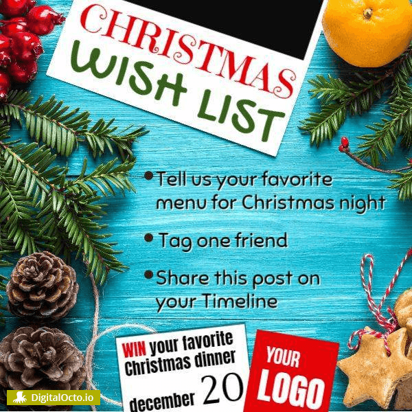 Christmas wish list menu