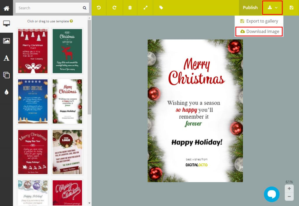 guide how to send a digital christmas card to your clients using
